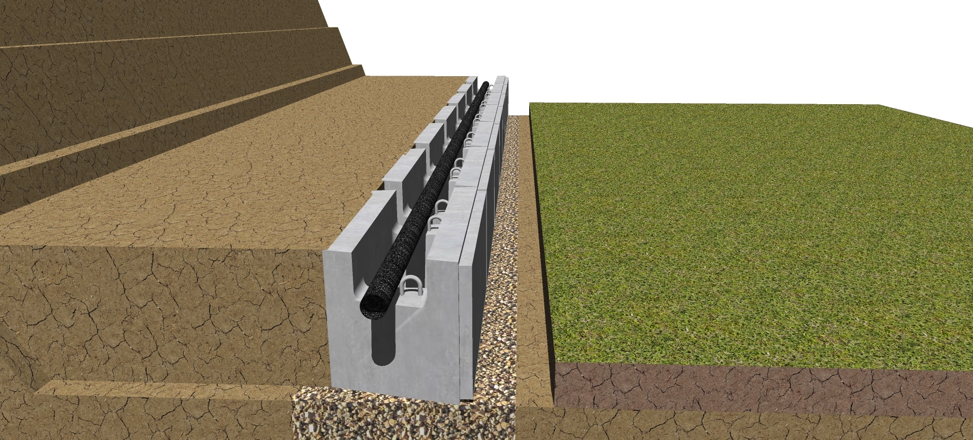 Drain Pipe in first row of geogrid retaining wall