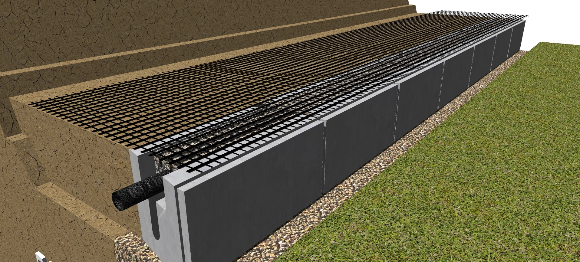 Geogrid for retaining walls in MagnumStone