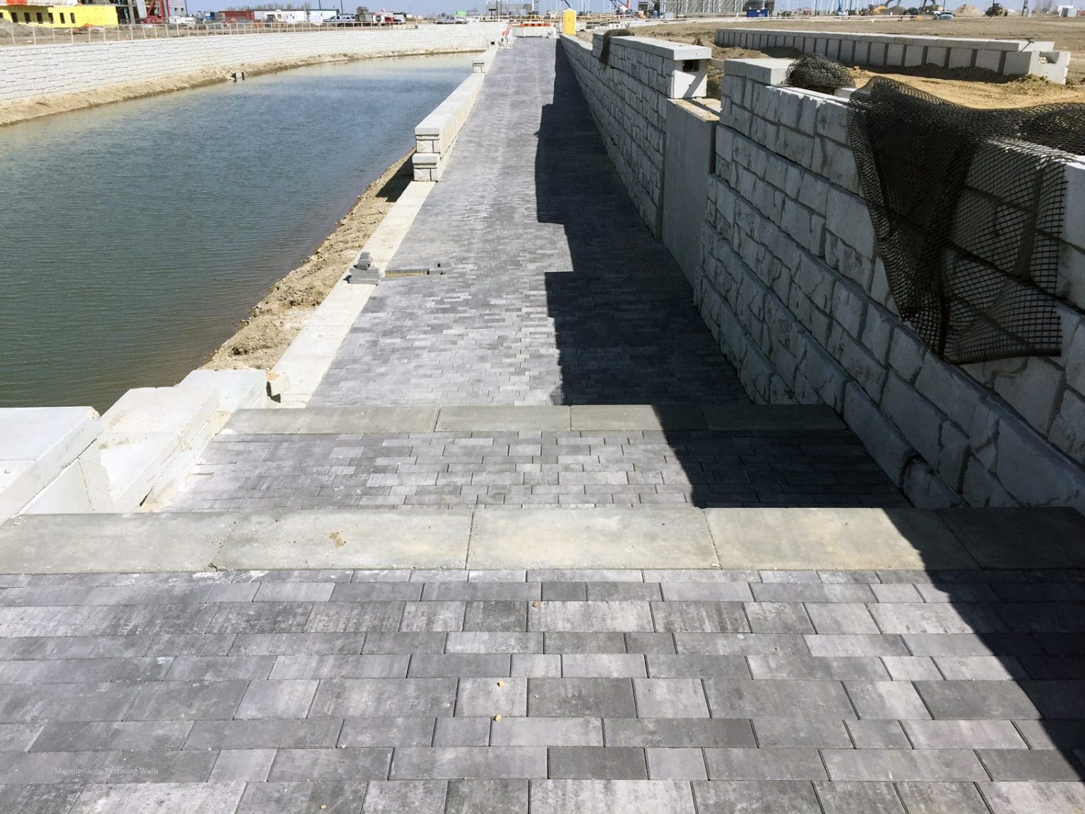 MagnumStone Geogrid Retaining Wall Canal Landing