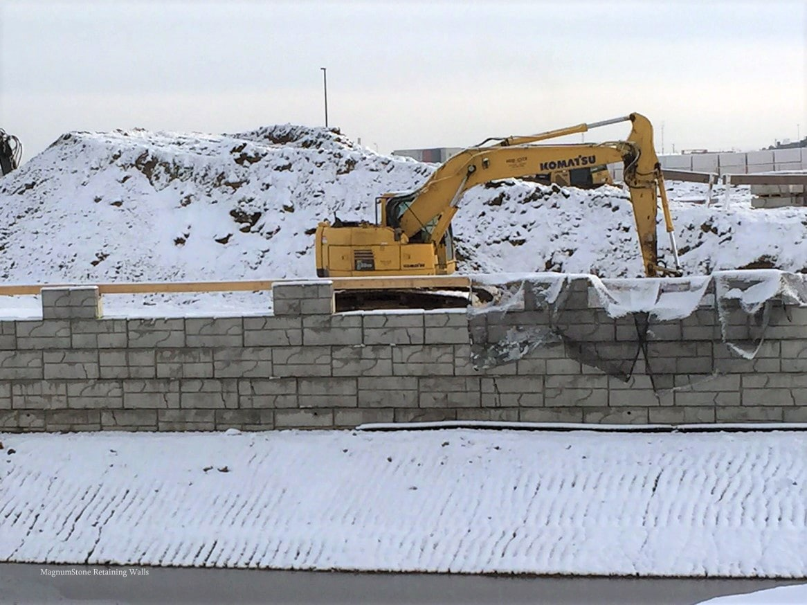 MagnumStone Geogrid Retaining Wall Construction at Edmonton Airport