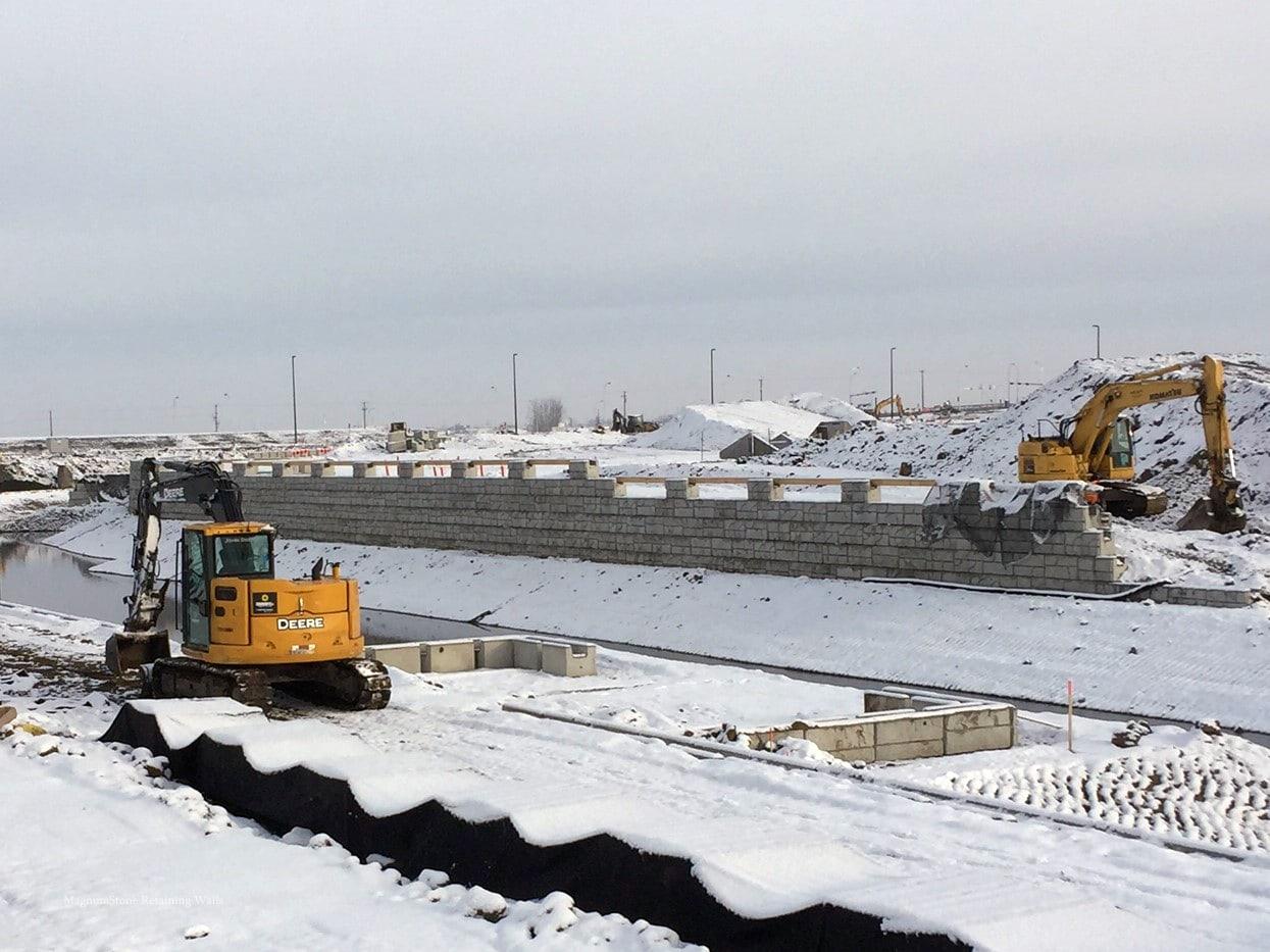 MagnumStone Geogrid Retaining Wall Edmonton Airport Equipment