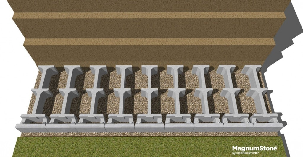 MagnumStone-Gravity-retaining-wall-base-row-completed