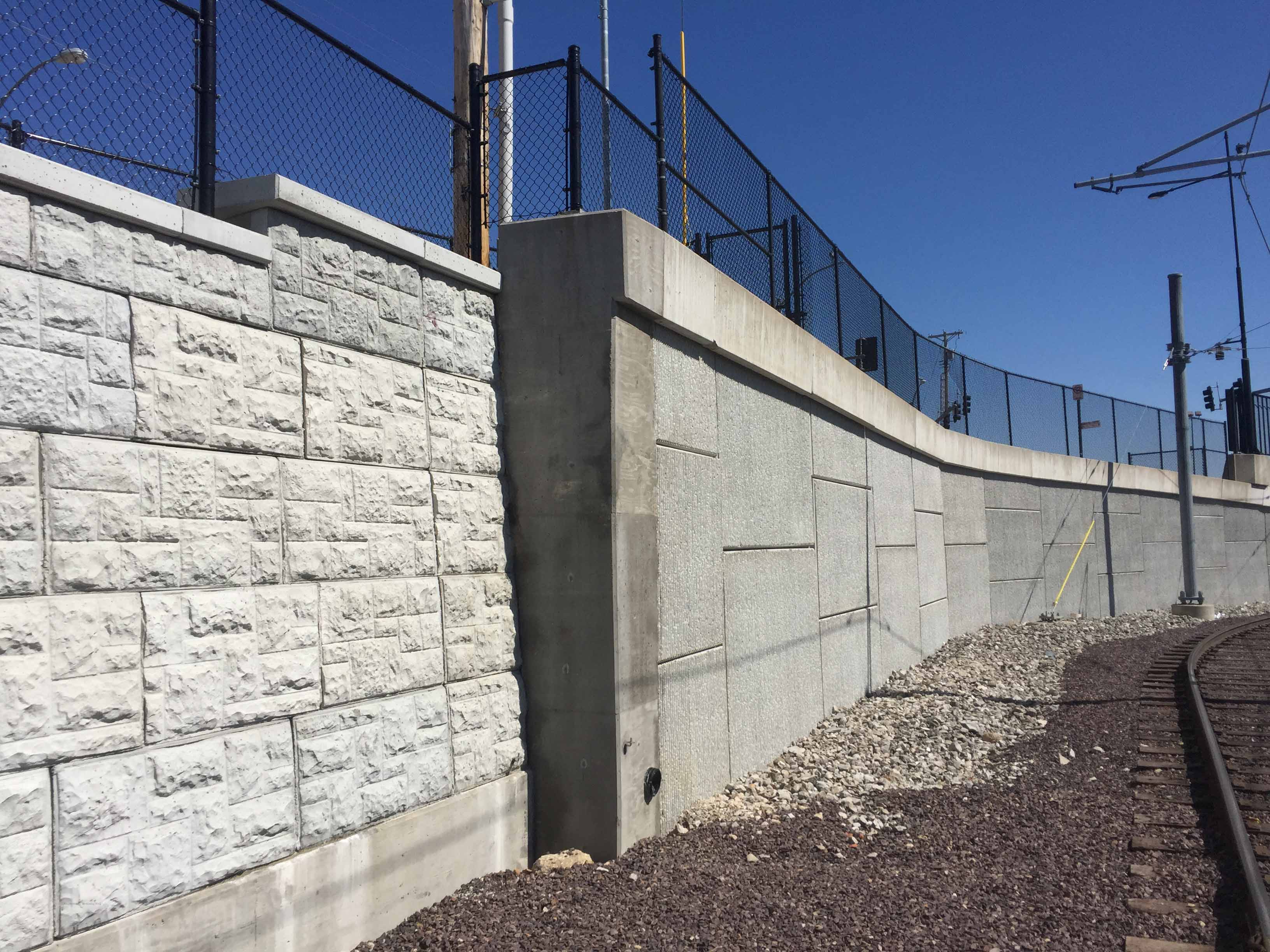MagnumStone castle face retaining wall in st louis missouri rail abutment