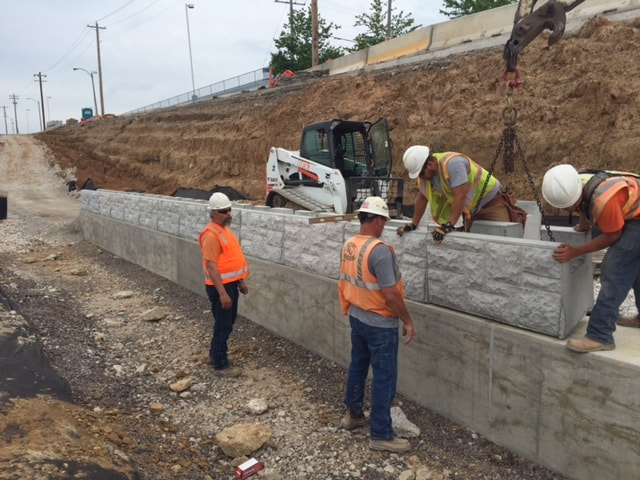 MagnumStone castle face retaining wall installation in st louis missouri