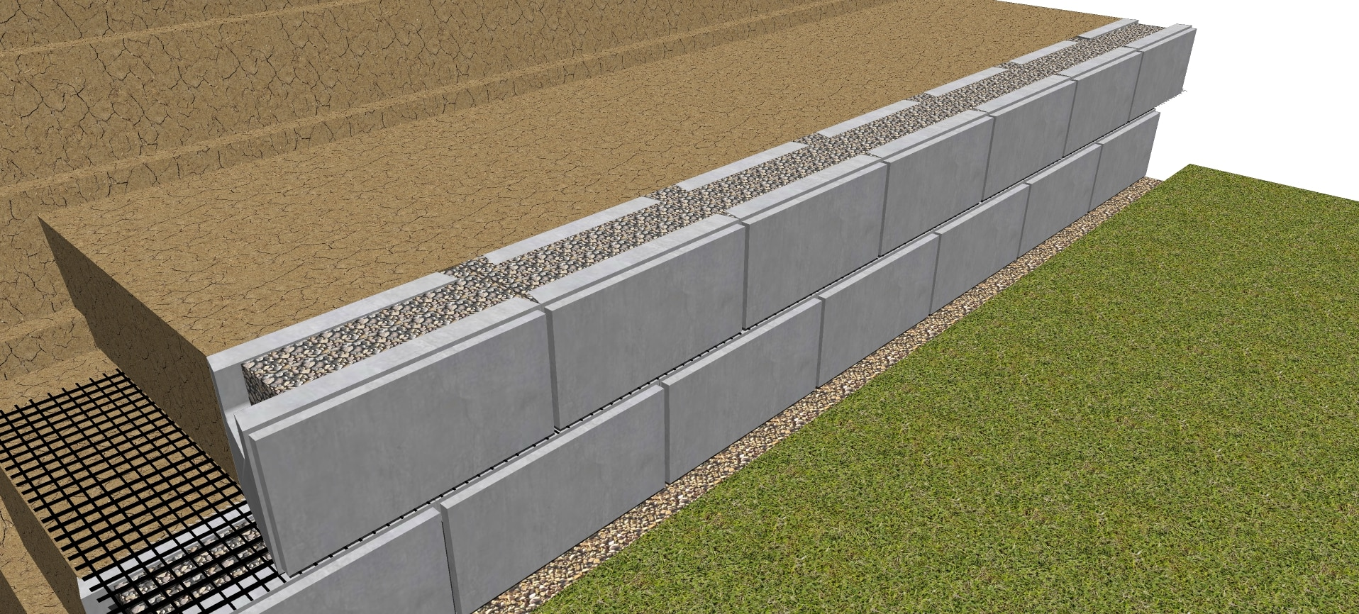 Second row drainage gravel