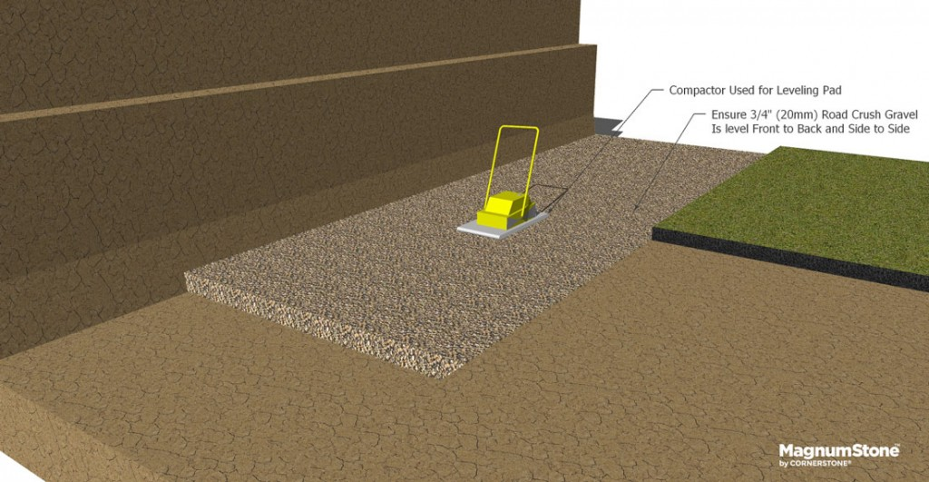 base-gravel-and-compaction-for-gravity-retaining-wall