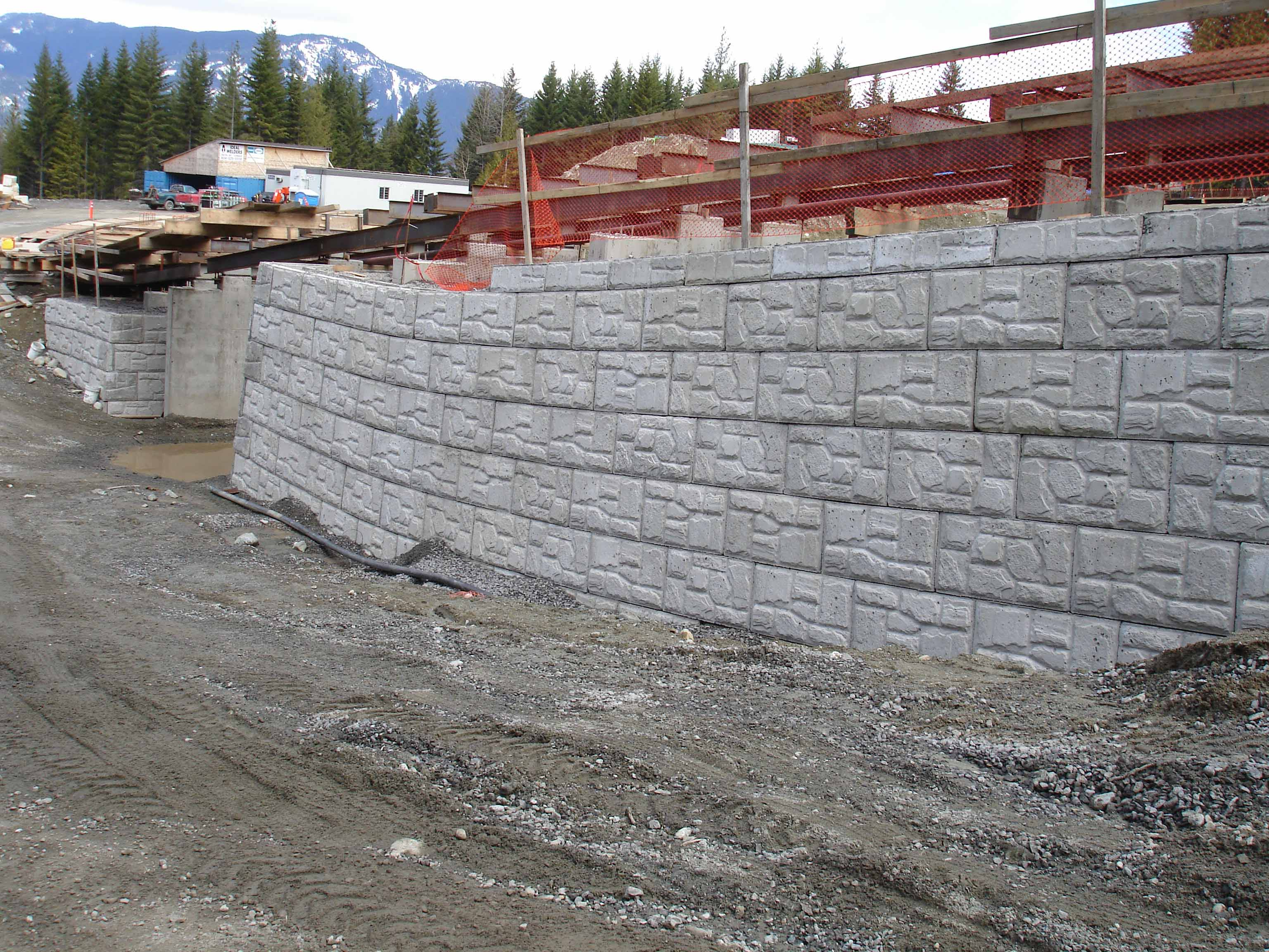 bridge abutment for retaining wall using magnumstone
