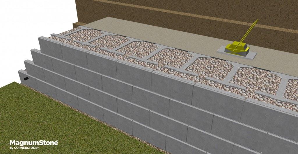 continue installation of magnumstone big block gravity retaining wall