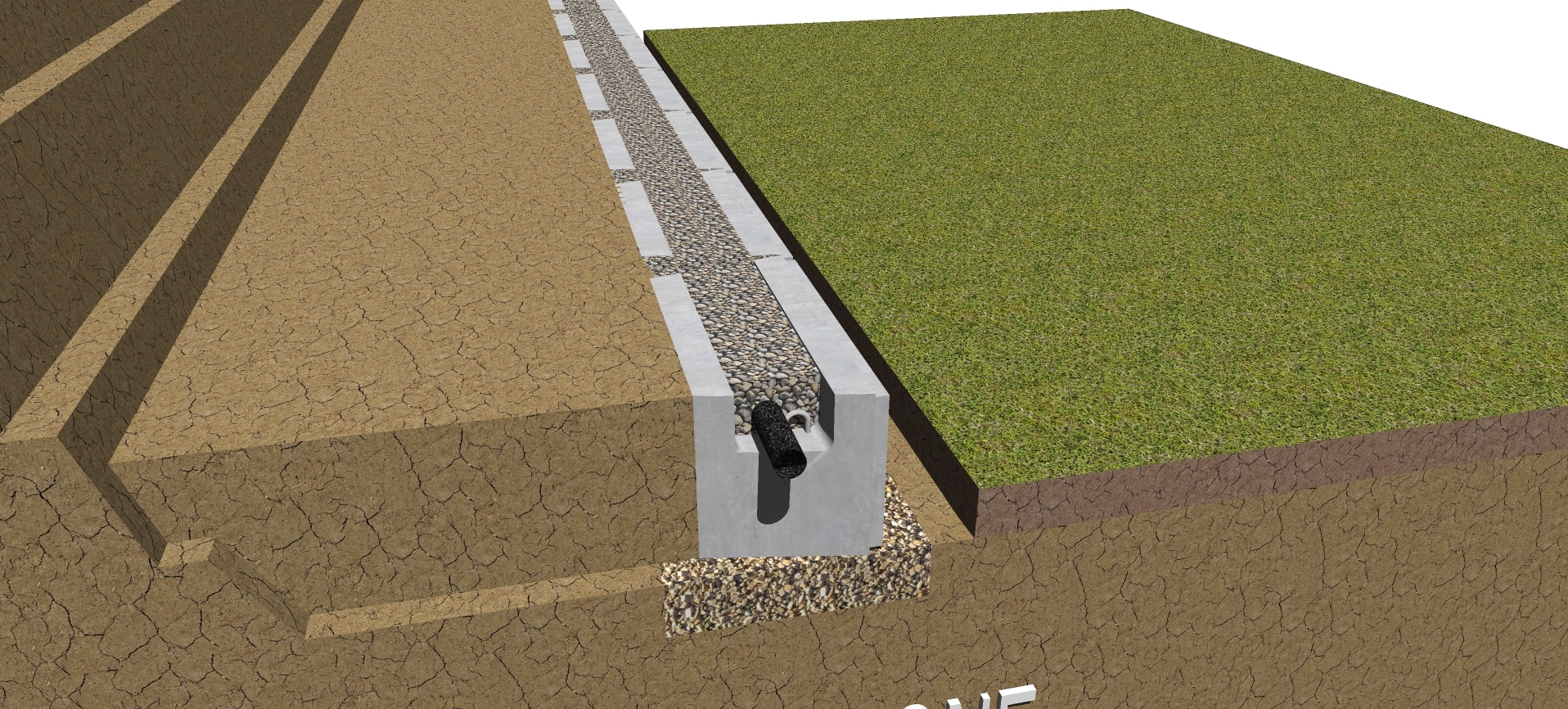 drainage gravel for geogrid retaining wall inside hollow core of MagnumStone