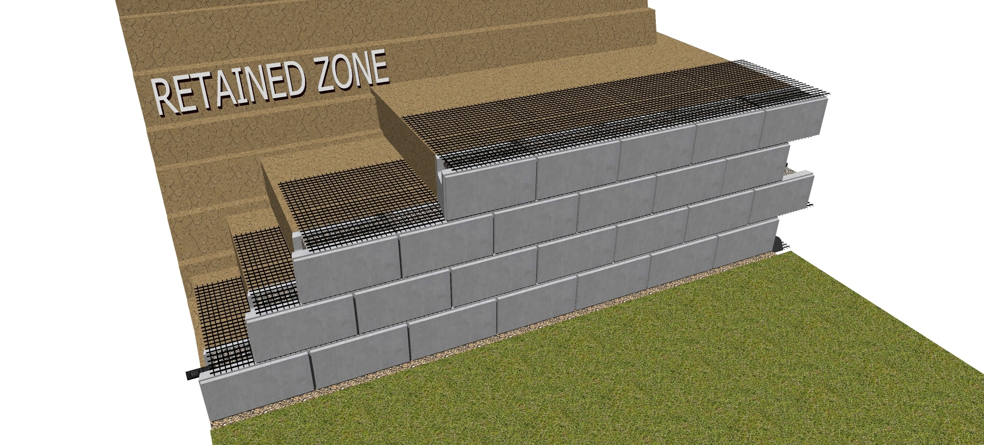 fourth row geogrid retaining wall for magnumstone