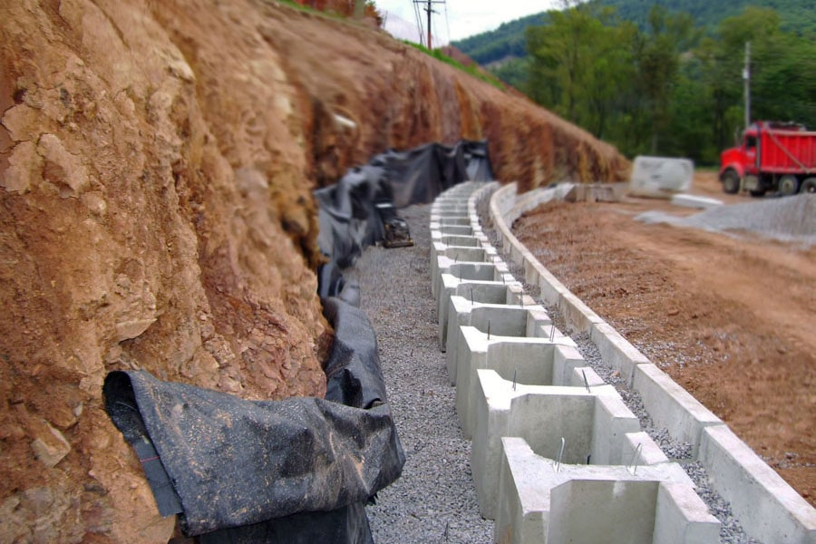 gravity retaining wall systems