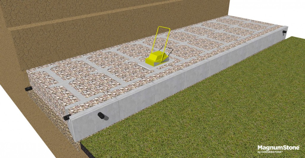 install-drainage-gravel-for-gravity-retaining-walls-into-hollow-cores
