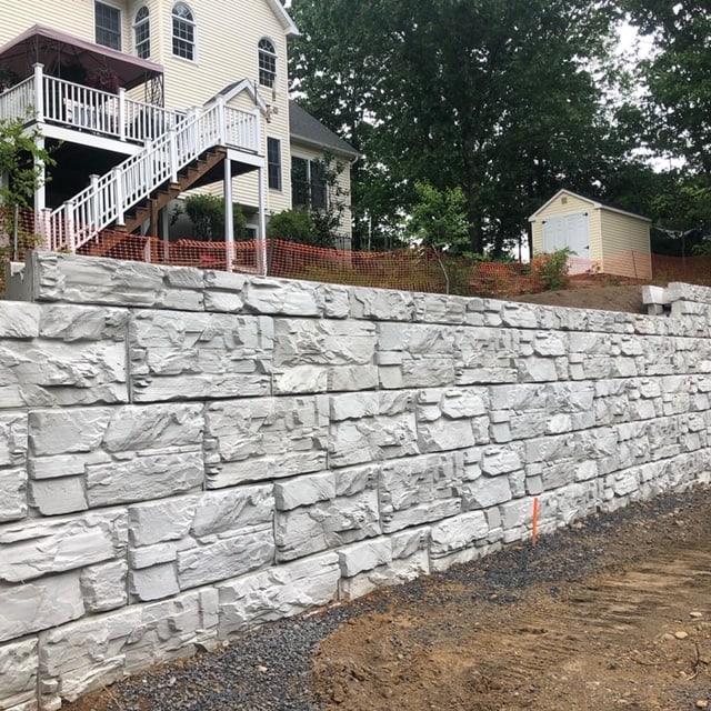 MagnumStone Gravity Retaining Wall utilizing top block