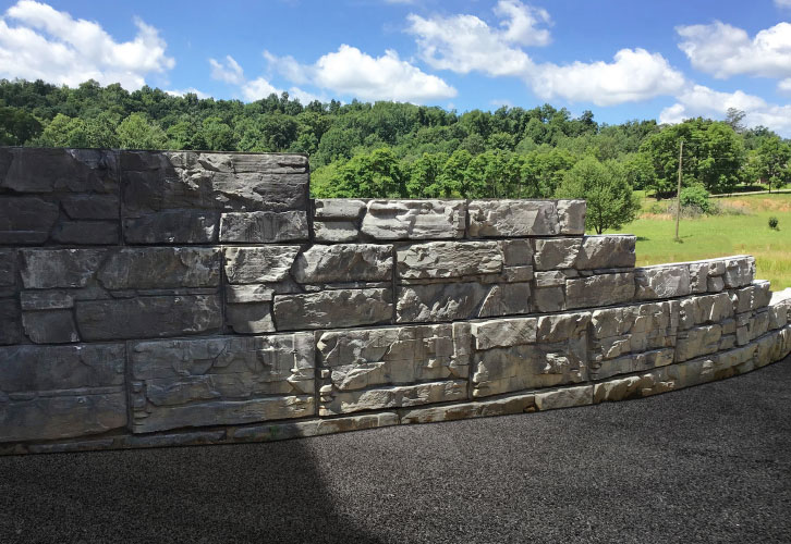 MagnumStone step-up retaining wall, driveway extension