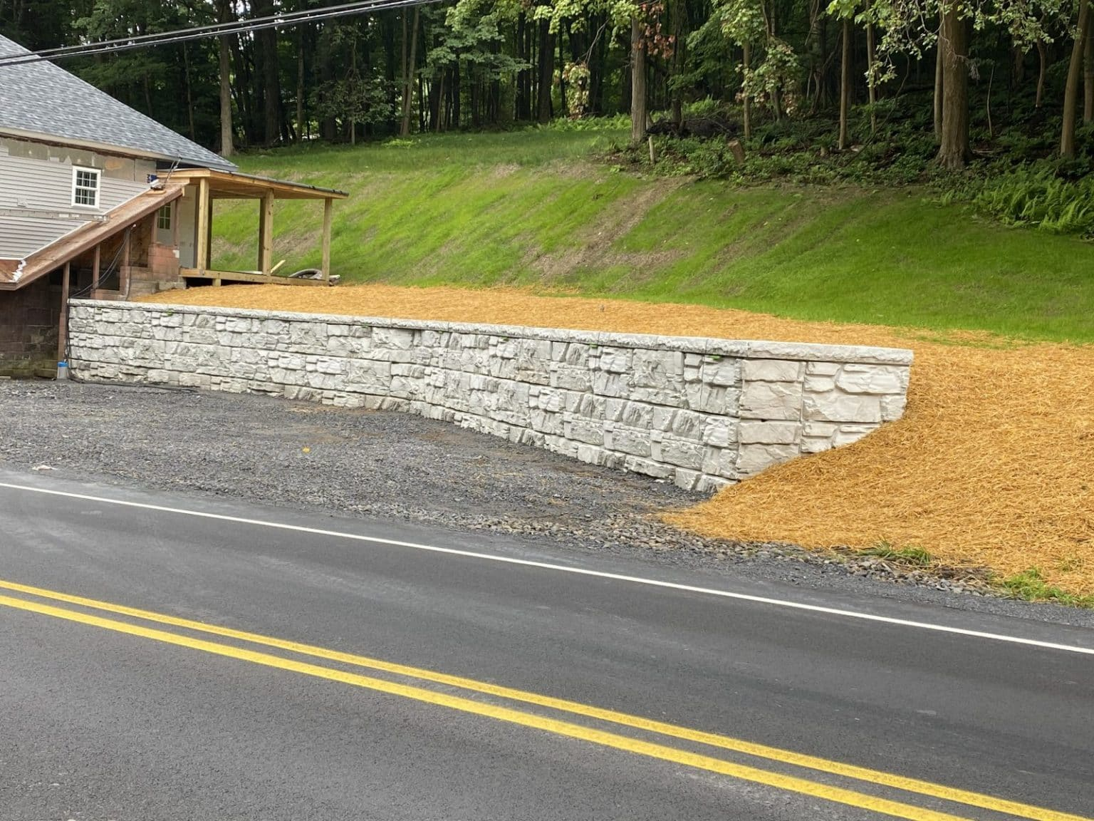MagnumStone Gravity retaining wall parking lot extension
