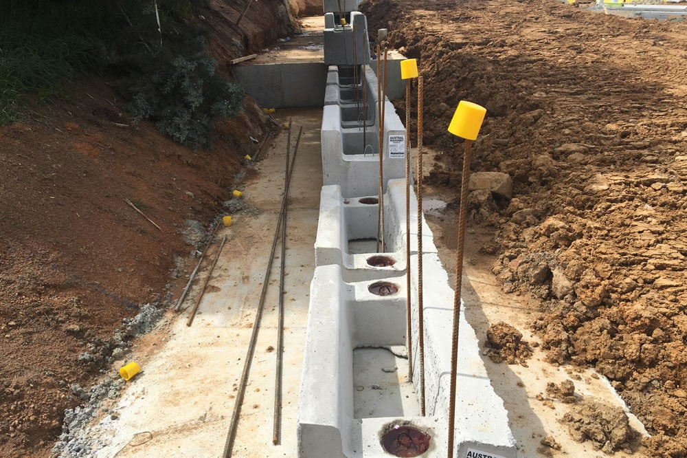 steel and concrete retaining walls