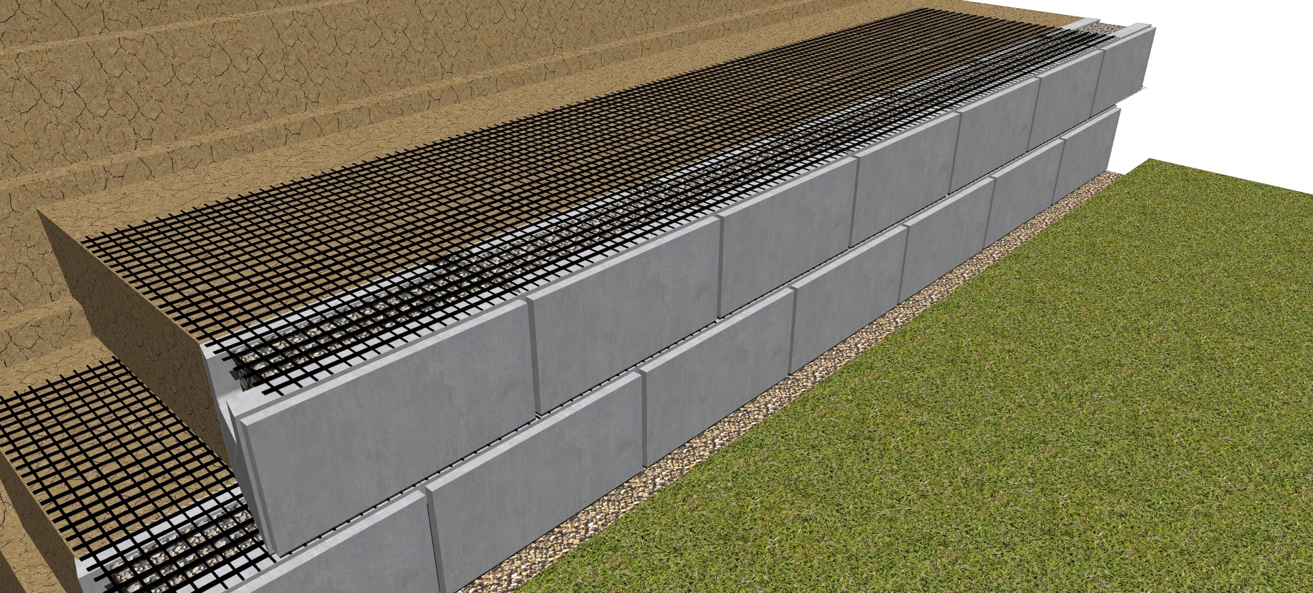 second row geogrid for retaining wall
