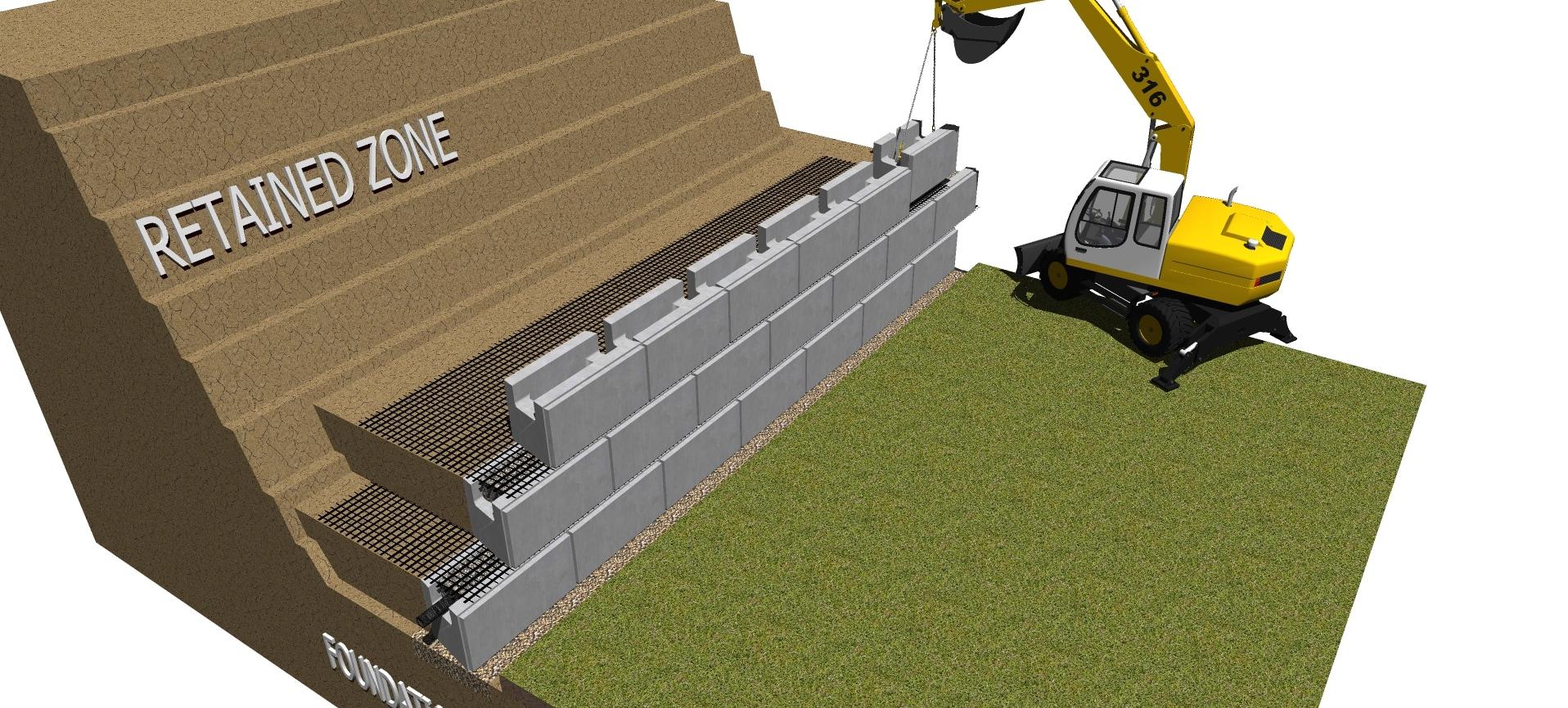 third row installation of magnumstone geogrid retaining wall block